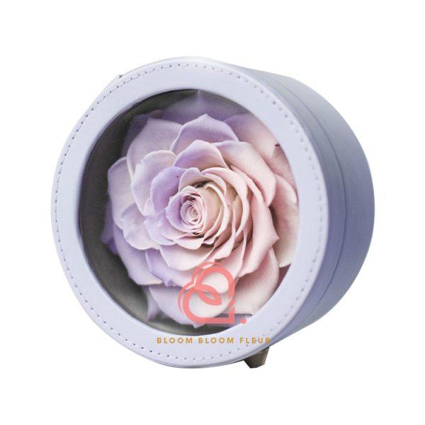 圓形迷你保鮮花禮盒(一朵粉紫色)