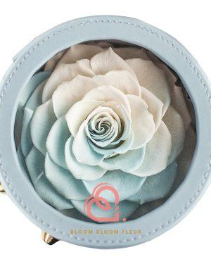 圓形迷你保鮮花禮盒(一朵粉藍白色)