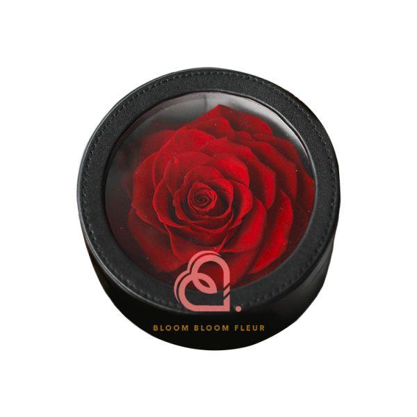 圓形迷你保鮮花禮盒(一朵紅色)
