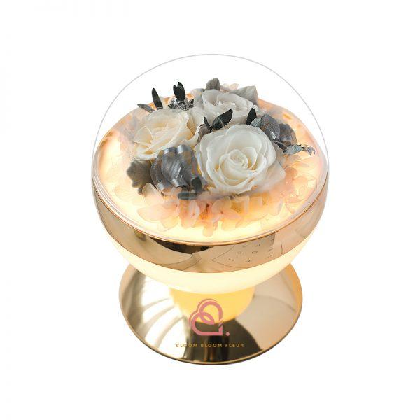 圓球形燈罩枱燈(杏色)