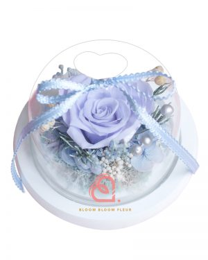 迷你愛心玻璃罩(淡紫色玫瑰)
