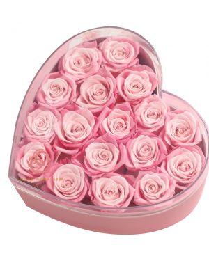 心形保鮮花大透明禮盒(深淺粉紅色)