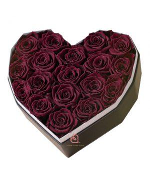 心形保鮮花大禮盒(深紅色)