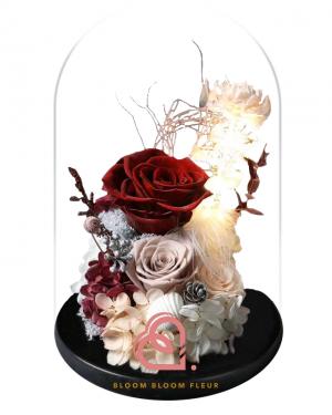 組合款保鮮花玻璃罩(深紅色)