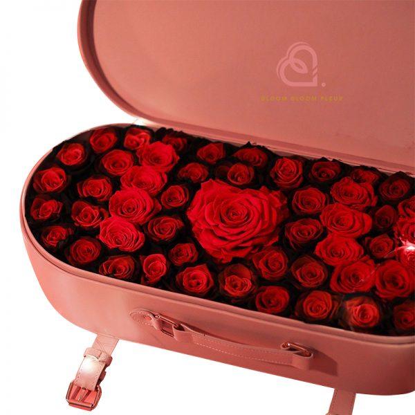 保鮮花大皮盒(深紅色)