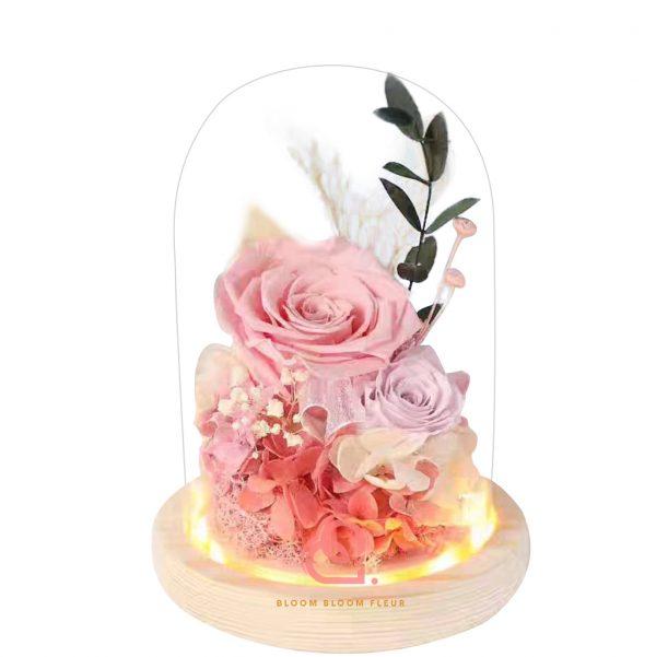 雙玫瑰玻璃罩(淺粉紅色)