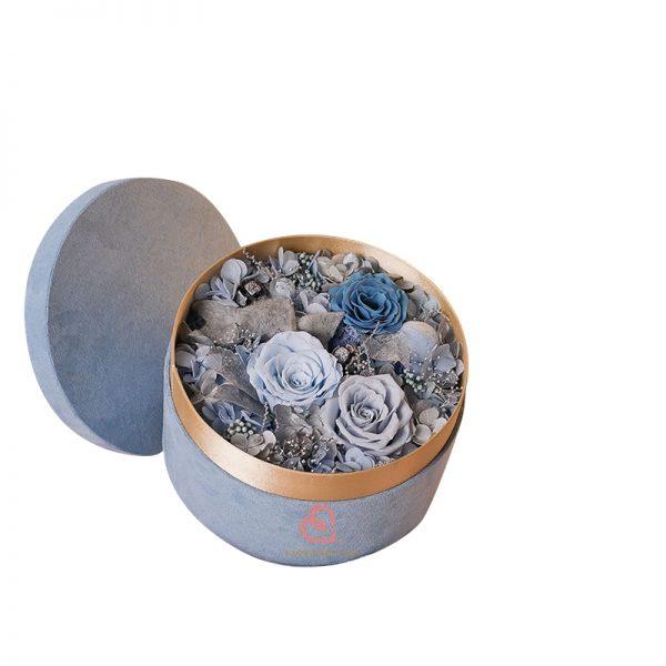 保鮮花絨盒(淺藍色)