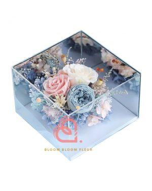 鏡面四邊形保鮮花禮盒(炒藍色)
