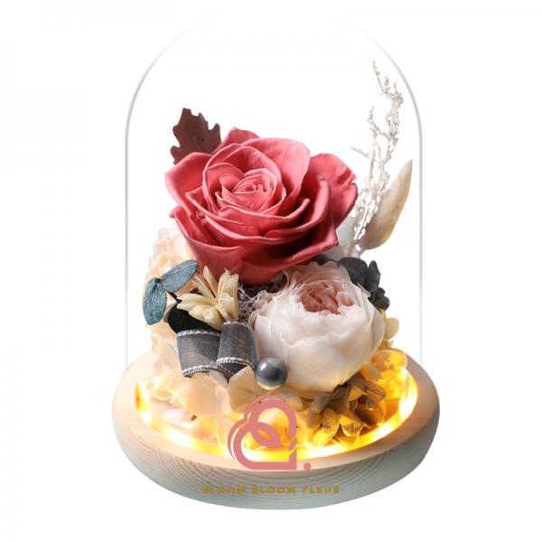 蝴蝶系列保鮮花玻璃罩(珊瑚色)
