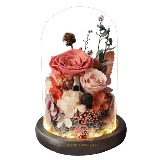 雙玫瑰玻璃罩(珊瑚色)
