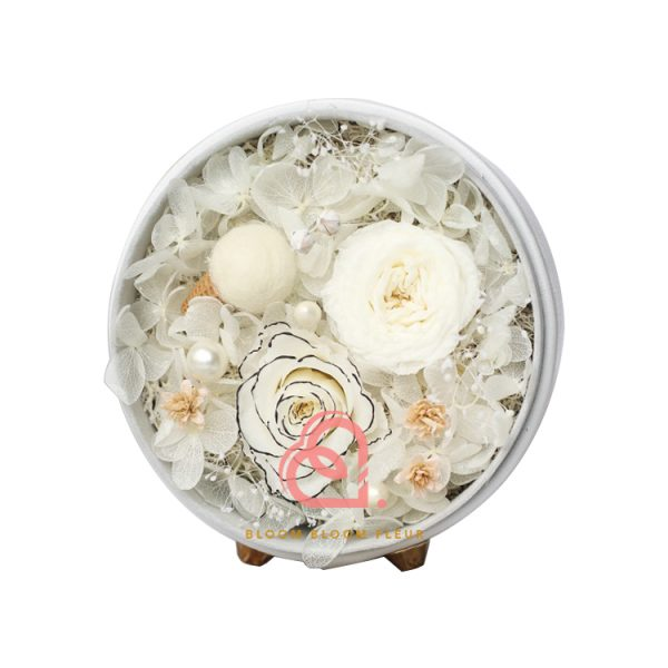 圓形迷你保鮮花禮盒(白色)