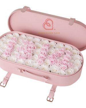 保鮮花大皮盒(粉紅白色)