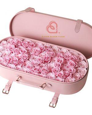 保鮮花大皮盒(粉紅色)