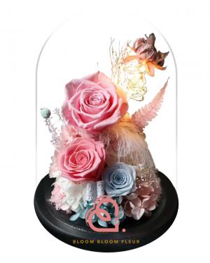 組合款保鮮花玻璃罩(粉紅色)