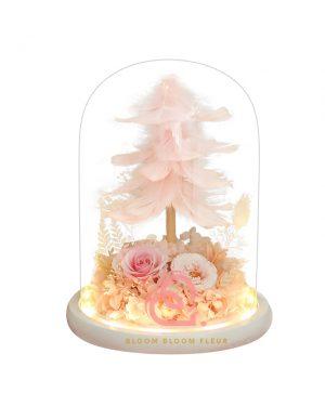 羽毛樹保鮮花玻璃罩(粉紅色)