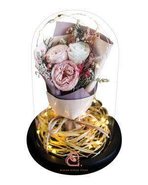 保鮮花花束玻璃罩(粉紅色)