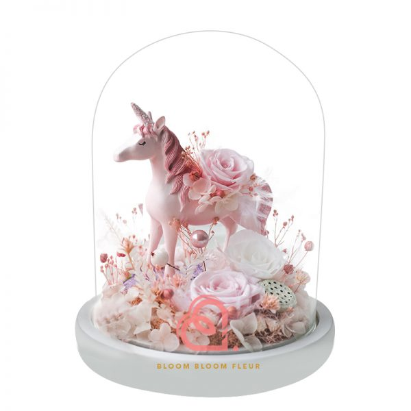 獨角獸大玻璃罩(粉紅色)