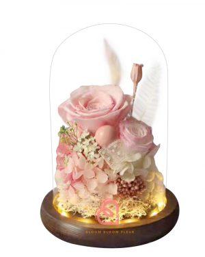 雙玫瑰玻璃罩(粉紅色)