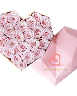 心形保鮮花大粉紅色鑽石禮盒(粉紅色)