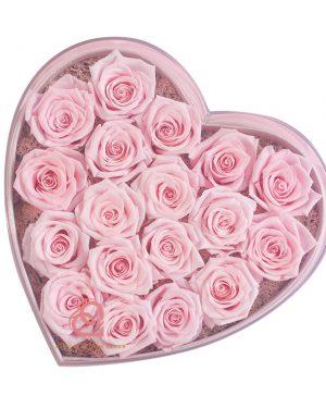 心形保鮮花大透明禮盒(粉紅色)
