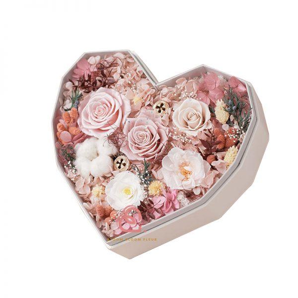 心形保鮮花大禮盒多色款(粉紅色)