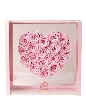 心形保鮮花加大全透明禮盒(粉紅色)