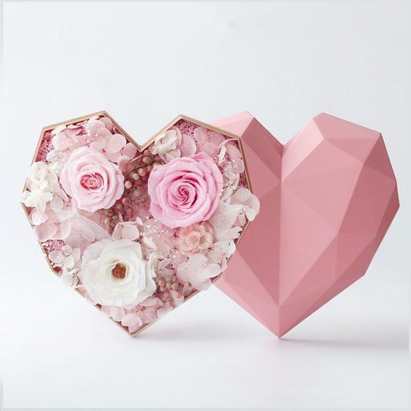 心形保鮮花細粉紅色鑽石禮盒(粉紅色)