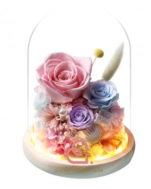 糖果系列保鮮花玻璃罩(粉紅色)