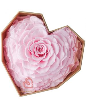 巨心形保鮮花細粉紅色鑽石禮盒(粉紅色)