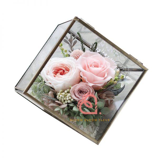 六角形保鮮花禮盒(粉紅色)