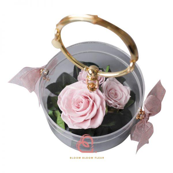 玫瑰保鮮花手提盒(粉紅色)
