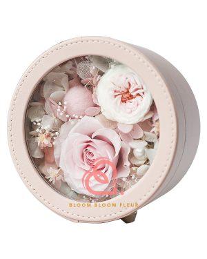 圓形迷你保鮮花禮盒(粉紅色)