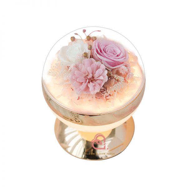 圓球形燈罩枱燈(粉紅色)