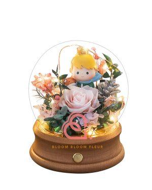小王子保鮮花藍牙玻璃罩(粉紅色)