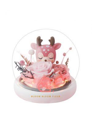 小鹿保鮮花玻璃罩(粉紅色)