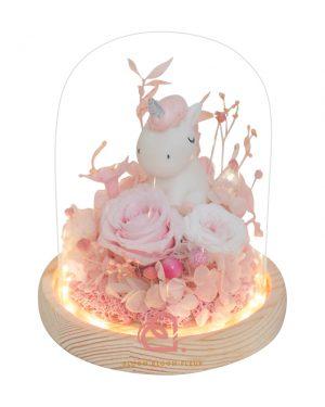 可愛獨角獸玻璃罩(粉紅色)