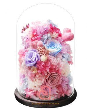 巨形保鮮花玻璃罩(粉紅色)