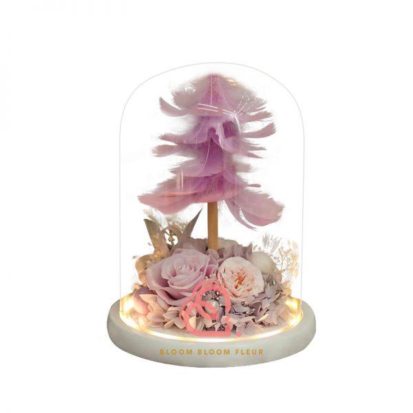 羽毛樹保鮮花玻璃罩(粉紫色)