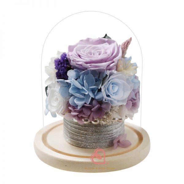 保鮮花盆栽玻璃罩(粉紫色)