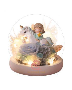 迷你獨角獸玻璃罩(粉藍色)