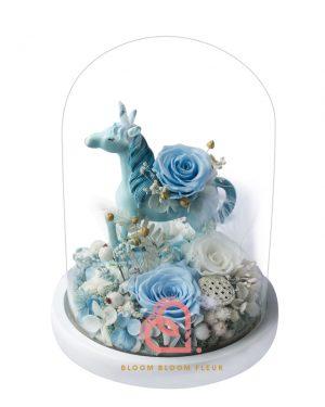 獨角獸大玻璃罩(粉藍色)