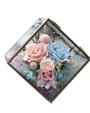 六角形保鮮花禮盒(粉藍色)