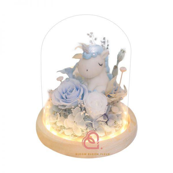 可愛獨角獸玻璃罩(粉藍色)