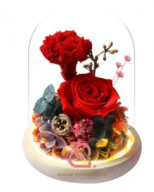 玫瑰及康乃馨玻璃罩(紅色)