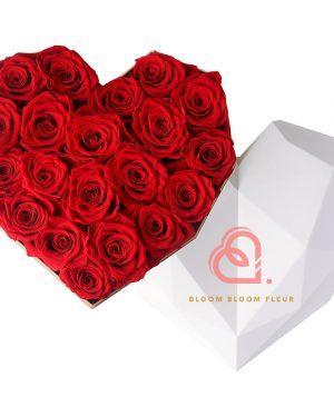 心形保鮮花大白色鑽石禮盒(紅色)