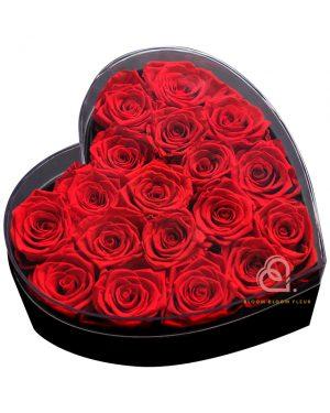 心形保鮮花大透明禮盒(紅色)