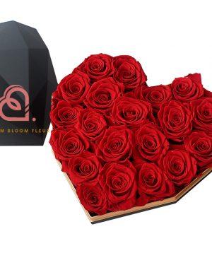 心形保鮮花大黑色鑽石禮盒(紅色)