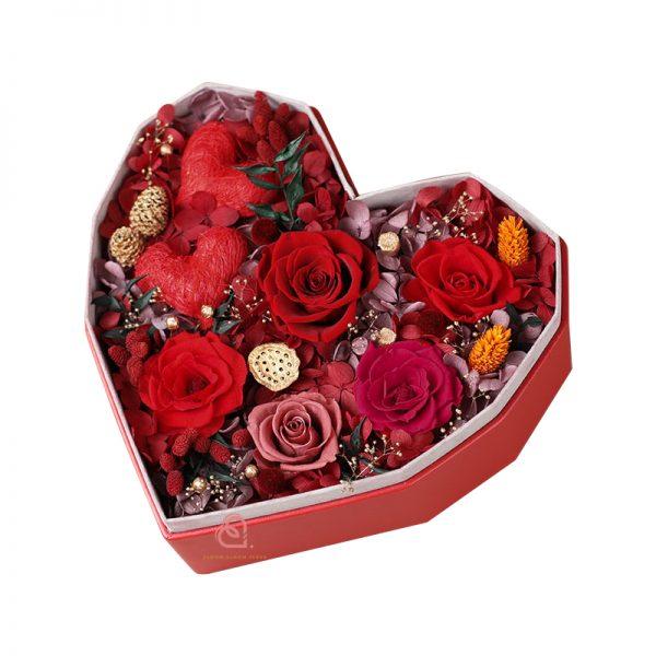 心形保鮮花大禮盒多色款(紅色)