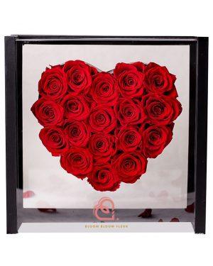 心形保鮮花加大全透明禮盒(紅色)