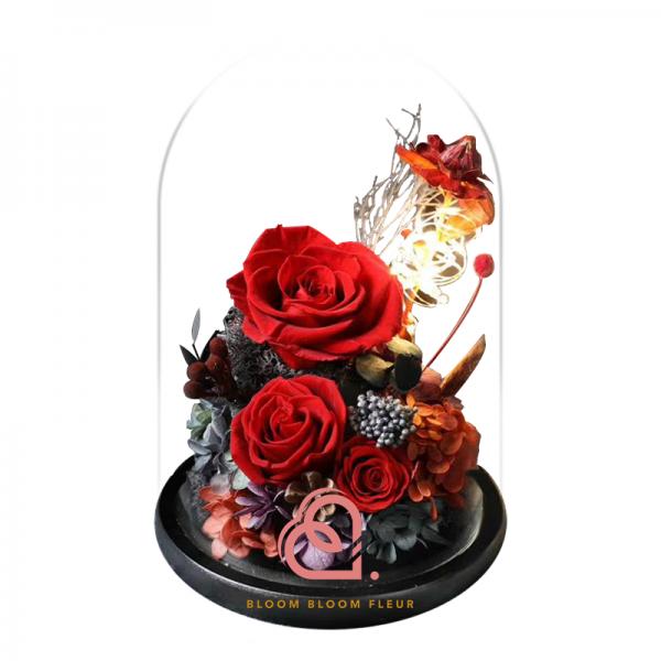 組合款保鮮花玻璃罩(紅色)